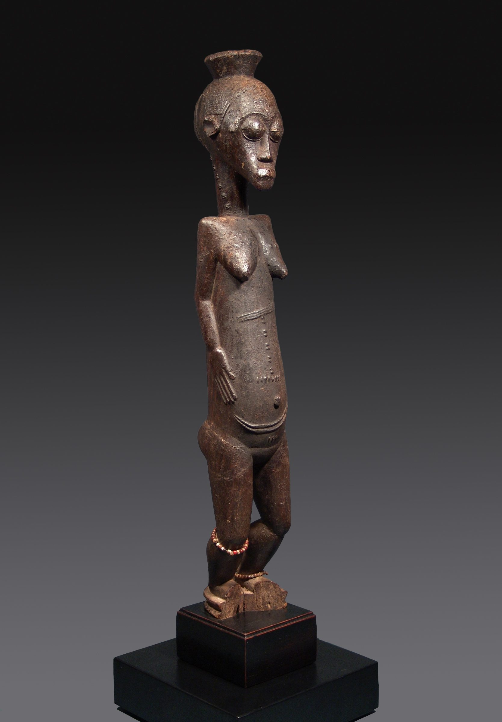 Female Figure Baule, Ivory Coast Wood 55 cm